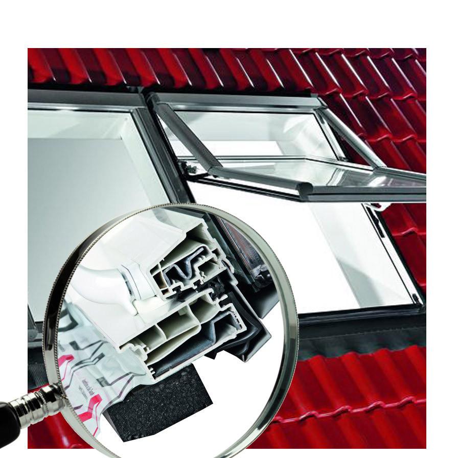 Мансардное окно ручка снизу Roto R7 ПВХ теплое, Ось открывания – ¾ (только ¼ створки в помещении)