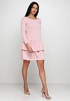 Молодежное удобное платье с юбкой воланами из двунитки  Camomile