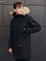 Зимняя мужская черная парка Staff voic  black, фото 1