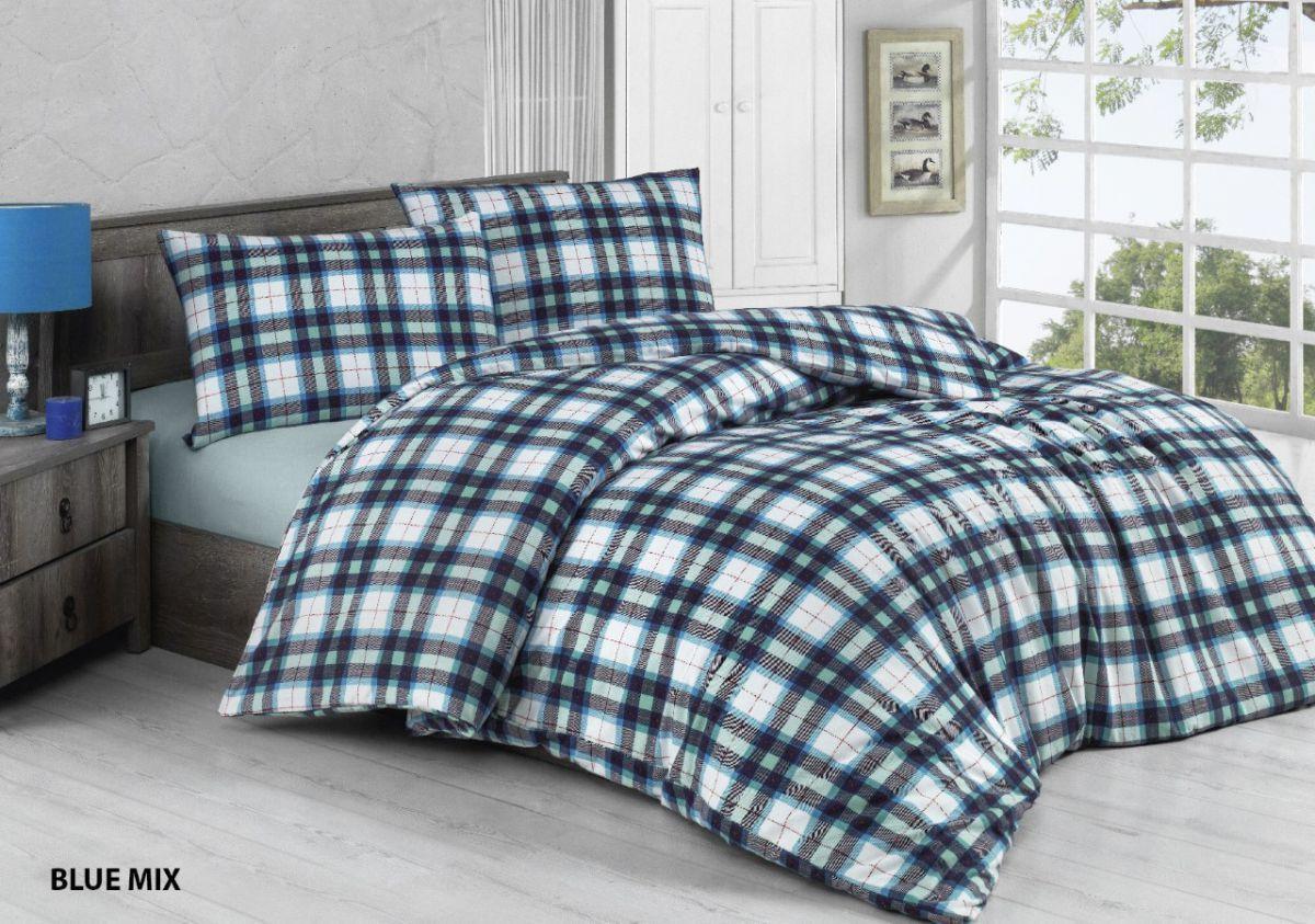 Евро-комплект постельного белья Blue mix Фланель. Клетка