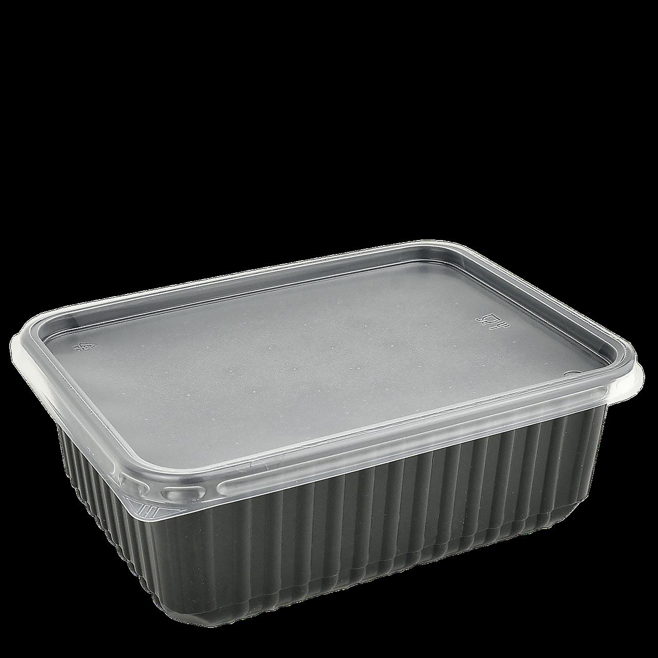 Контейнер с крышкой 1000мл Черный. Для хол.блюд и разогрева в СВЧ 179*132*64мм (50шт в уп)