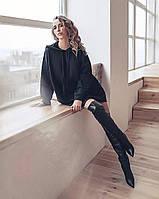 Женский удлиненный свитшот с капюшоном 40, Черный