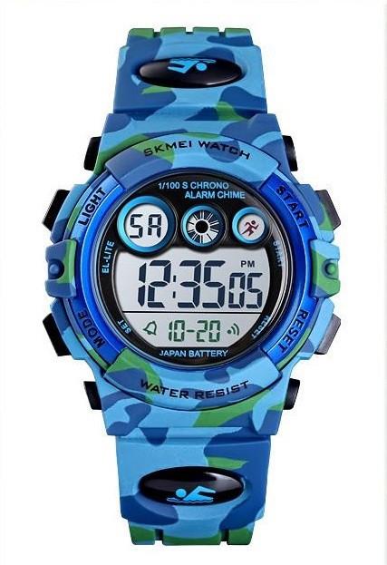 Skmei 1547 kids голубой камуфляж детские спортивные часы