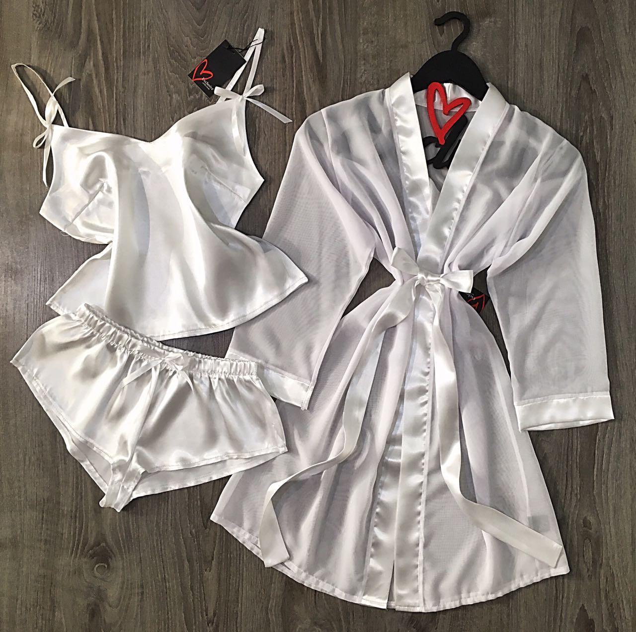 Белый прозрачный халат + атласный комплект