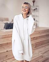 Женский удлиненный свитшот с капюшоном 46, Белый