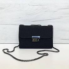 Небольшая сумка материал тканевая мешковина (0493) Черный