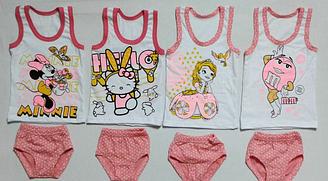 Комплект майка + труси для дівчинки, Україна, Дітки-Текс, рр. 98-104, 110-116, 116-122,