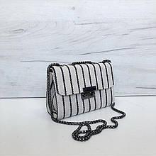 Небольшая сумка материал тканевая мешковина (0493) Полосками