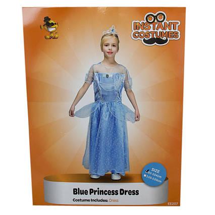 Костюм детский карнавальный ПРИНЦЕССА в голубом платье, рост 92-104 см, черный (EE207А)