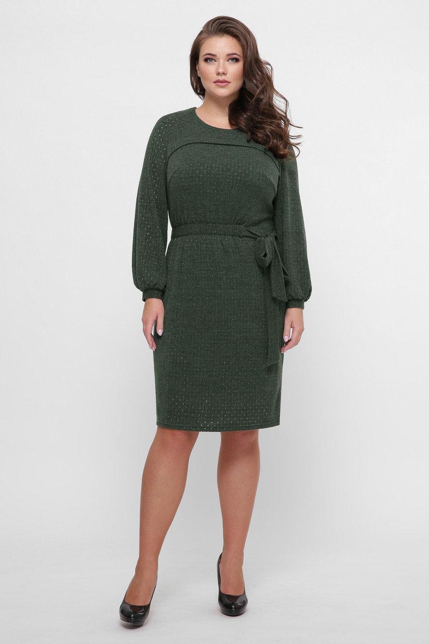 Вязаное женское платье Эмили зеленый  (52-58)
