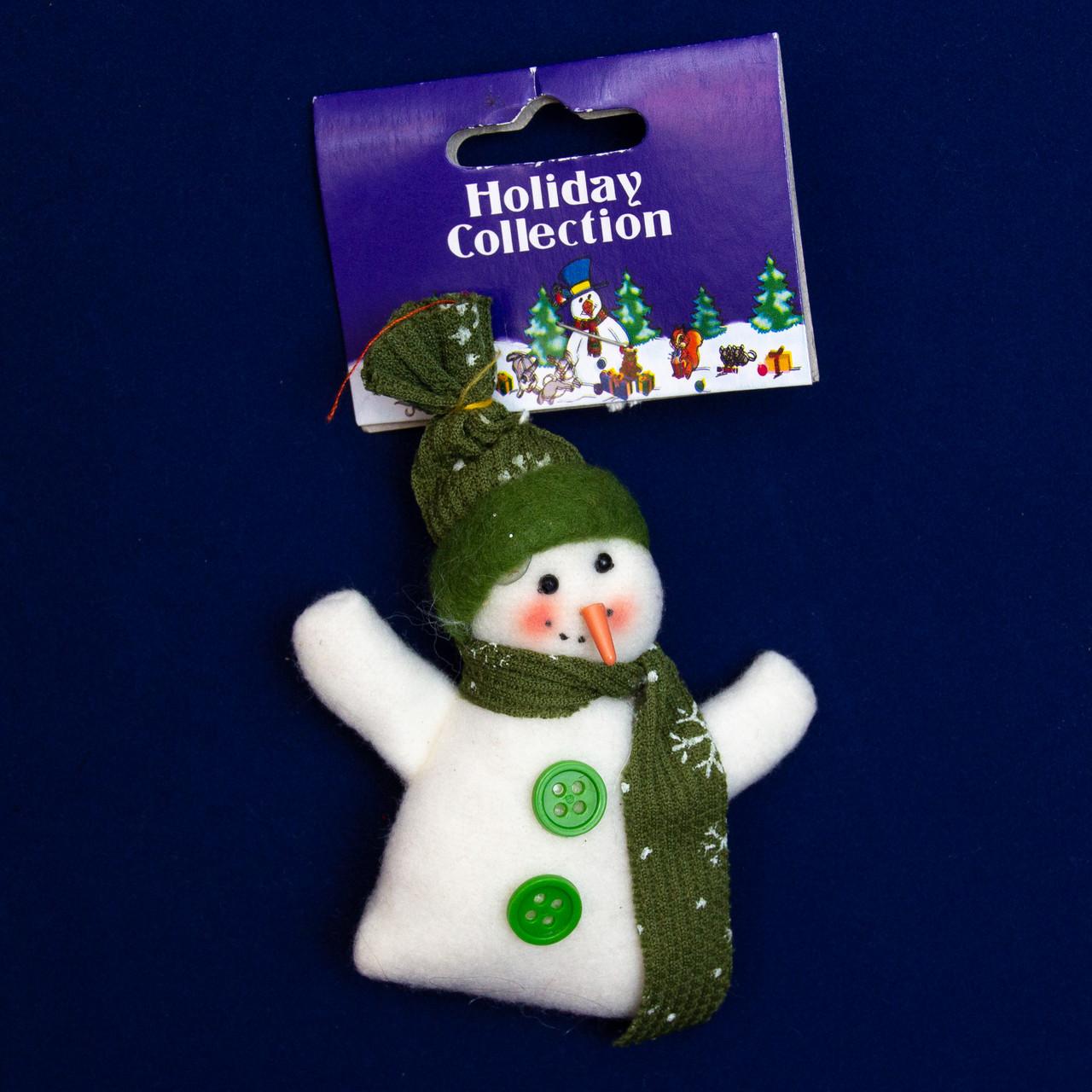 Елочная игрушка мягкая фигурка Зеленый Снеговик 9 см, (000159-9)
