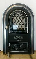 Дверка для пічки,барбекю,каміна з склом «Олені» мала