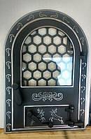 Дверка для пічки,барбекю,каміна з склом «Олені великі»