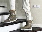 Женские зимние дутики Nike (оливковые), фото 2