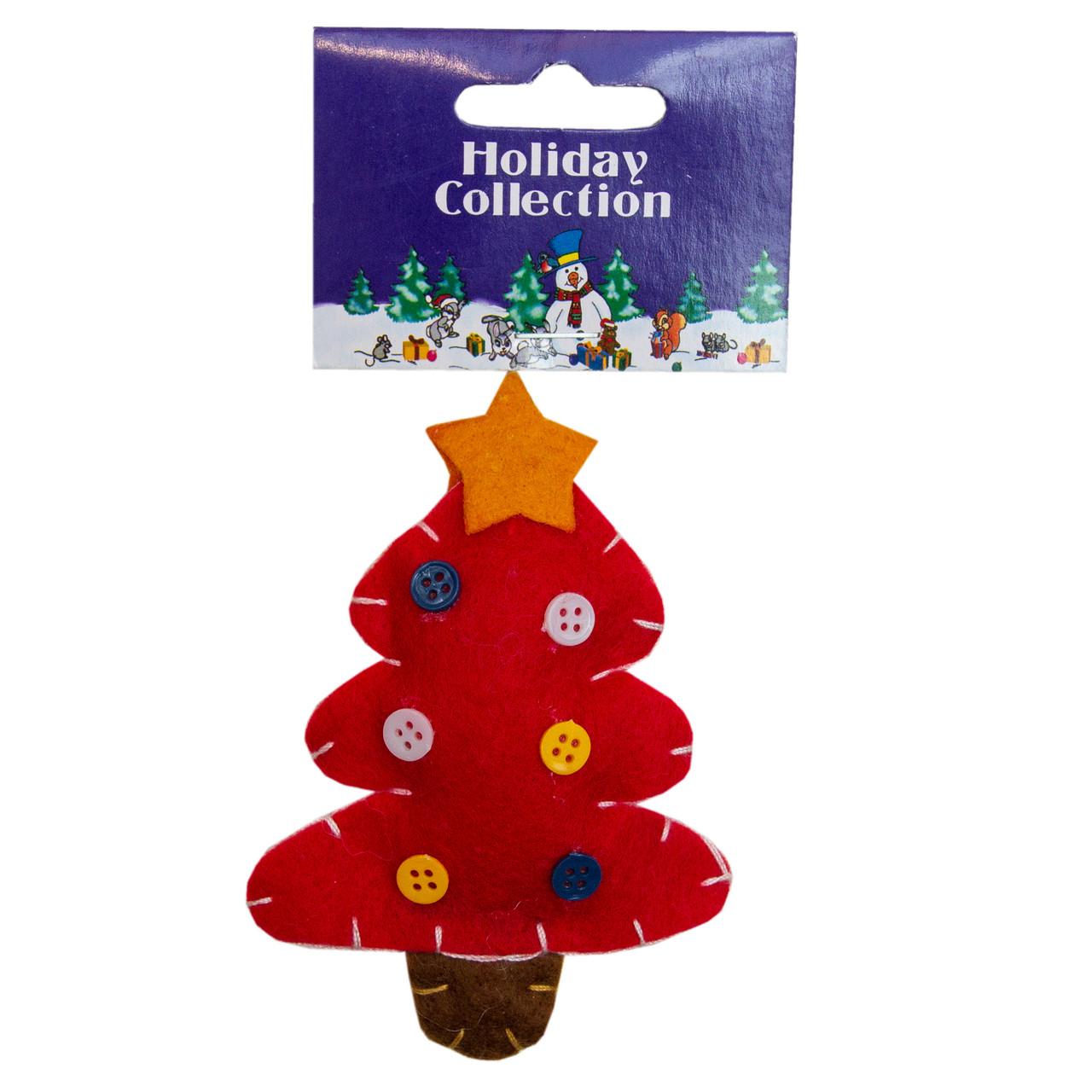 Елочная игрушка мягкая фигурка Красная елка, 11см (000401-8)