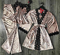 Пудровый велюровый комплект для сна и дома халат+майка и штаны.