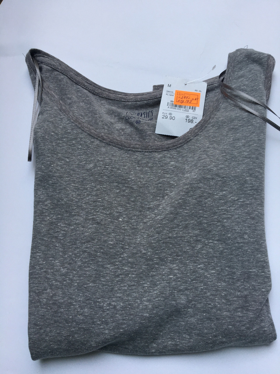 Женская футболка длинный рукав приятная к телу коттон серая c&a
