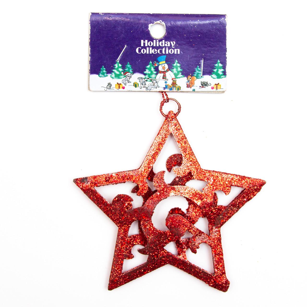 Елочная игрушка на подвеске, металл, красная звезда, 10см (000722-2)