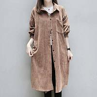 Довга туніка, сорочка - сукня жіноча з вельвету , є великі розміри. Колір і розмір на вибір!, фото 1