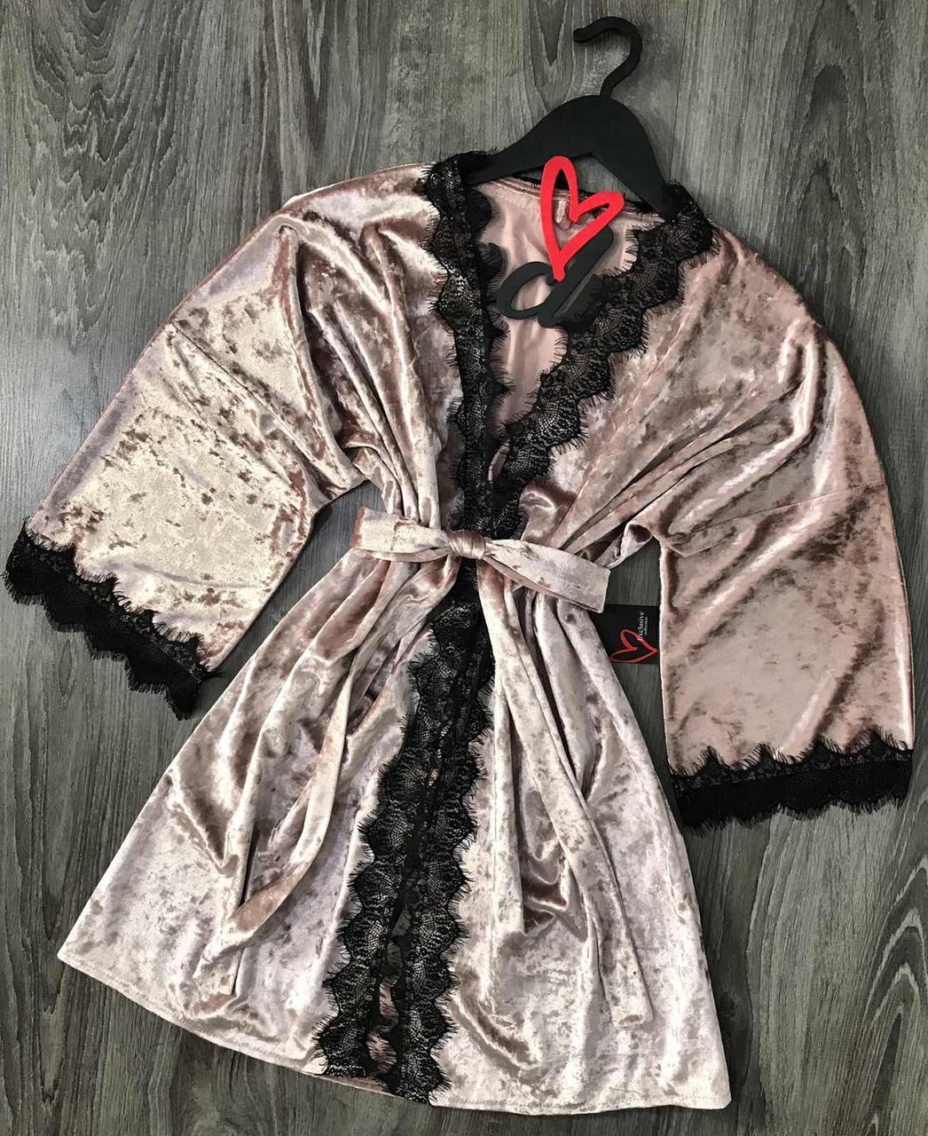 Пудровый велюровый халат с кружевом 082-1 вишня, домашняя одежда.