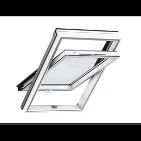 Мансардне вологостійке вікно ПВХ GLP Оптіма Комфорт Velux, з ручкою знизу або зверху, склопакет триплекс