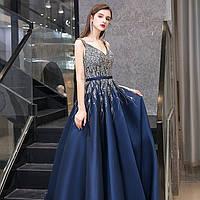 Вечернее платье А силует ручной работы. Вечірня ніжна сукня. Очень красивое синие вечернее платье