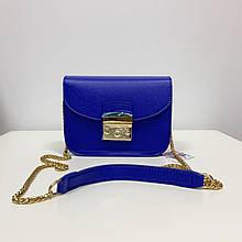 Стильный клатч на цепочке в стиле Фурла со вставкой на плечо (0155) Синий