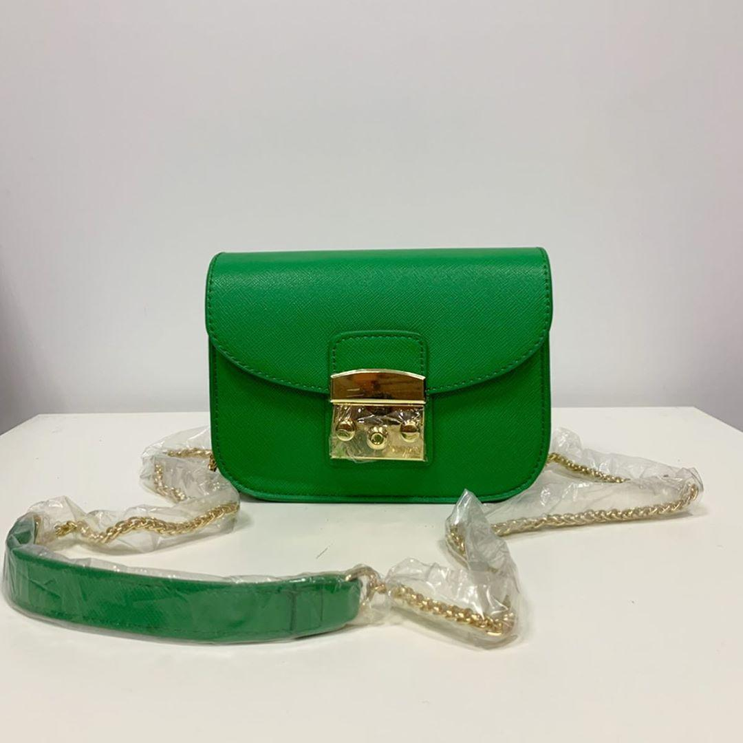 Стильний клатч на ланцюжку в стилі Фурла зі вставкою на плече (0155) Зелений