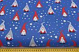 """Ткань новогодняя """"Скандинавские гномы"""" красно-серые на синем, №2486, фото 2"""
