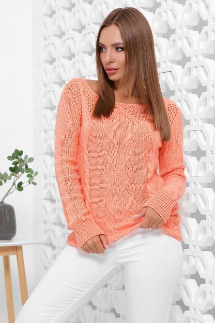 Красивый свитер Карина персиковый (44-50)