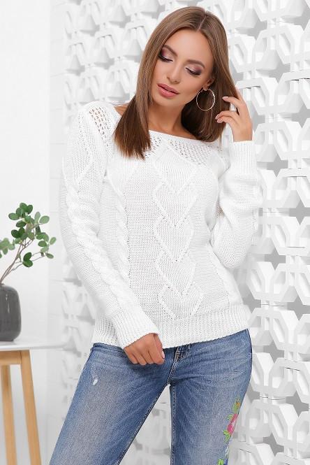 Красивый свитер Карина белый (44-50)