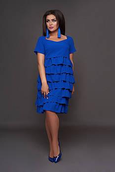/ Размер 58-60 / Женское платье с рюшами 30603 цвет электрик