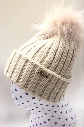 Детская практичная и теплая вязанная шапочка с меховым помпоном, фото 2
