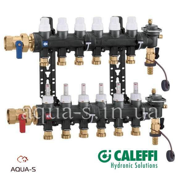 """Коллектор в сборе Caleffi DN 1"""", 5 выходов x 3/4"""" (композит) для теплого пола (6716E1)"""
