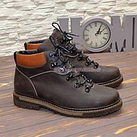 Ботинки мужские на шнуровке, из натуральной кожи крейзи коричневого цвета. 40 размер