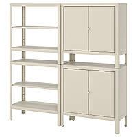 IKEA KOLBJORN Стеллаж с 2 шкафами, бежевый, 171x37 см (592.916.34), фото 1
