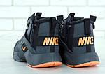 Мужские зимние кроссовки Nike Air Huarache Winter с мехом (серо-оранжевые), фото 5