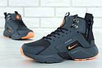 Мужские зимние кроссовки Nike Air Huarache Winter с мехом (серо-оранжевые), фото 6
