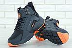 Мужские зимние кроссовки Nike Air Huarache Winter с мехом (серо-оранжевые), фото 7