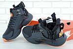 Мужские зимние кроссовки Nike Air Huarache Winter с мехом (серо-оранжевые), фото 9