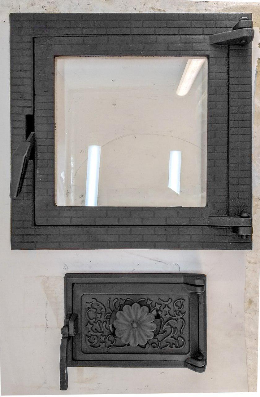 Дверца печная со стеклом 102873к, 400х400 мм