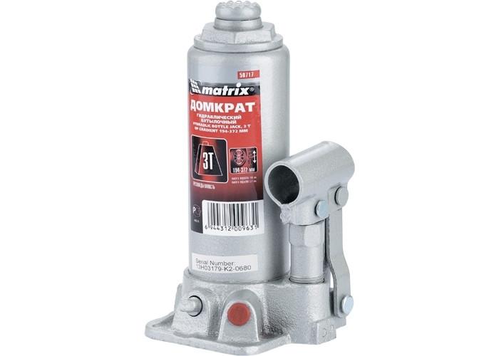 Домкрат гидравлический бутылочный, 3 т, h подъема 194-372 мм MTX MASTER 507179