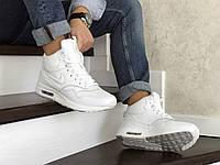 Кроссовки зимние Nike Air Max 87 мужские, белые, в стиле Найк Аир Макс, кожа, мех, код SD-8550
