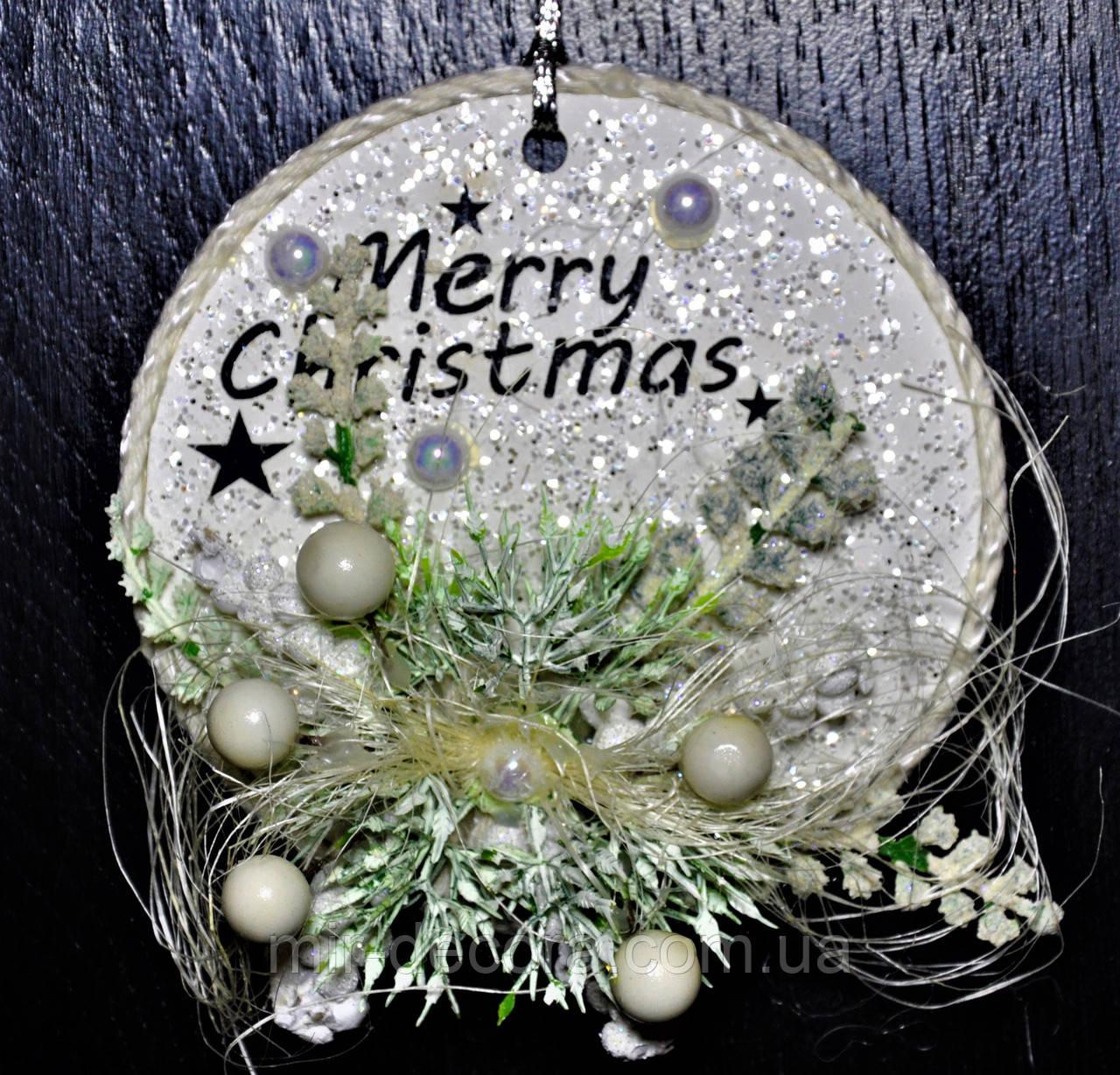 """Украшение на елку из дерева """"Merry Christmas"""" высота 12 см"""