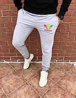Мужские серые зимние спортивные штаны на флисе, чоловічі зимові спортивні штани Адидас, Реплика