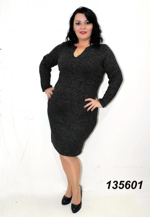 Платье ангора-меланж,черное 48,50,52,54,56