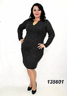 Платье ангора-меланж,черное 48,50,52,54,56, фото 1