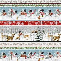 53002 Снежная история (орнамент). Ткань новогодняя для декорирования и пэчворка.