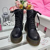 Женские кожаные зимние ботинки берцы на Dr. Martens Мартенсы на массивной платформе черные желтый