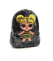 Детский рюкзак LOL с двусторонними пайетками ЛОЛ черный